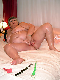 Grandma Libby gets very daring here.I get all oiled upfeeling sexy and slippery.Then I get out a selection of my d