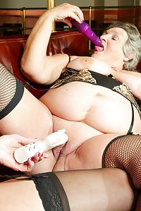 Steph wants more and more so GrandmaLibbygets hold of a couple of big dildos and gives her a seeing to in both holes.