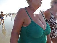 old granny at beach