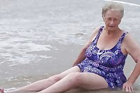 old granny at beach